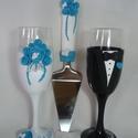 Türkiz rózsa  esküvői pohár pár és torta lapát, Esküvő, Nászajándék, Esküvői dekoráció, Egyedi kézzel készített pohár pár. Süthető gyurmát használtam a díszítéshez. Bármilyen színösszeállí..., Meska
