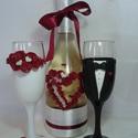Bordó rózsa pezsgő  szett, Esküvő, Esküvői dekoráció, Gyurma, Egyedi díszítéssel ellátott esküvői álom szett.  Szerelmes pároknak eljegyzésre, esküvőre vagy egyé..., Meska