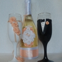 Barack rózsa pezsgő  szett, Esküvő, Esküvői dekoráció, Egyedi díszítéssel ellátott esküvői álom szett.  Szerelmes pároknak eljegyzésre, esküvőre vagy egyéb..., Meska