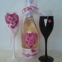 Rózsa pezsgő  szett, Esküvő, Egyedi díszítéssel ellátott esküvői álom szett.  Szerelmes pároknak eljegyzésre, esküvőre vagy egyéb..., Meska