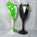 Rózsa varázs 3, Esküvő, Nászajándék, Esküvői dekoráció, Egyedi kézzel készített pohár pár. Süthető gyurmát használtam a díszítéshez. Bármilyen színösszeállí..., Meska