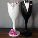 Kristály rózsa pezsgős pohár pár 1., Esküvő, Nászajándék, Gyurma, Szeretnéd felejthetetlenné tenni a nagy napot? Álmodd meg,és mi megvalósítjuk! Bármilyen színkombin..., Meska
