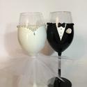 Kristály rózsa boros  pohár pár 2., Esküvő, Nászajándék, Gyurma, Szeretnéd felejthetetlenné tenni a nagy napot? Álmodd meg,és mi megvalósítjuk! Bármilyen színkombin..., Meska