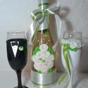 Rózsa pezsgő  szett, Esküvő, Esküvői dekoráció, Egyedi díszítéssel ellátott esküvői álom szett.  Szerelmes pároknak eljegyzésre, esküvőre vagy egyéb..., Meska