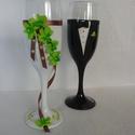 Esküvői pohár pár, Esküvő, Nászajándék, Esküvői dekoráció, Egyedi kézzel készített pohár pár csipke díszítéssel. Bármilyen színösszeállításban kérhető. Talp ré..., Meska