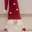 Manó-karácsonyi dekoráció, Karácsony & Mikulás, Karácsonyi dekoráció, Varrás, Kézzel és géppel varrt egyedi manók. Fehér fekete piros kombináció. A képtől minimális eltérés lehe..., Meska