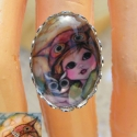 Én és a baglyom - Üveglencsés gyűrű, Ezüstözött gyűrű alapba egy kedves kis baglyo...