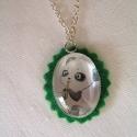 Édi bébi panda - Üveglencsés nyaklánc, Imádni valóan édes bébi panda egyszerű, ezüs...