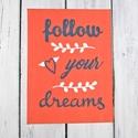LIVE LOVE LAUGH festett kép, fali dekoráció, Dekoráció, Otthon, lakberendezés, Kép, Falikép, Festészet, Hangulatos dekoráció FOLLOW YOUR DREAMS (kövesd az álmaidat) felirattal korall színű akril háttérre..., Meska