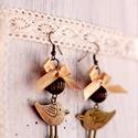 Bronz madaras fülbevaló szatén masnival, Ékszer, Fülbevaló, Bronz fülbevaló madárral, szatén masnival Teljes hossz: 7 cm, Meska