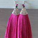 Rojtos, bojtos fülbevaló pink / ezüst, Ékszer, Fülbevaló, Ékszerkészítés, Pink színű rojtos - bojtos fülbevaló, függő Ezüst színnel kombinálva 11 cm hosszú  Termékeim között..., Meska