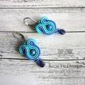 Kék türkiz mini sujtás fülbevaló, Ékszer, óra, Fülbevaló, Ezúttal egy kisebb, de színes, látványos fülbevalót készítettem a kék árnyalataiban.  Hét..., Meska