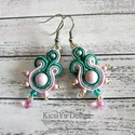 Rózsaszín ezüst smaragd zöld elegáns sujtás fülbevaló, Esküvő, Ékszer, óra, Esküvői ékszer, Fülbevaló, Ékszerkészítés, Elegáns sujtás fülbevaló halvny rózsaszín, smaragdzöld és ezüst színben.  A készítésnél felhasznált..., Meska
