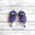 Kék lila sujtás fülbevaló swarovskival, Ékszer, Fülbevaló, Sötétkék és lila színekben készítettem ezt a sujtás fülbevalót. A swarovski kristályok mi..., Meska