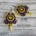 Sárga lila sujtás fülbevaló swarovskival, Ékszer, Fülbevaló, Sárga és lila színekben készítettem ezt a sujtás fülbevalót. A swarovski kristályok miatt g..., Meska