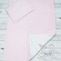 Rószaszín fehèr babaágynemű rózsaszín - takaró és lapos kispárna szett, Rószaszín és fehér babaágybemű szett. Az ele...
