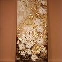 Arany-réz virágok festmény (modern akril falikép), Képzőművészet, Dekoráció, Kép, Festmény, Festészet, Aranyos rézvirágok címmel készült, Christine Krainock munkái által inspirálódva, (Original Abstract..., Meska