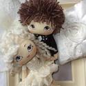 Esküvői babapáros, menyasszonyi baba-vőlegény baba-nászajándék, Dekoráció, Esküvő, Esküvői dekoráció, Nászajándék, Baba-és bábkészítés, Festészet, 23 cm-esek ezek a kézzel festett babáim. Esküvőre asztali dekorációnak ajánlom, vagy nászajándékba...., Meska