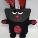 Tojásgyűjtő táska - nyuszi (Pötyi), Táska, Pénztárca, tok, tárca, Varrás, Húsvéti csoki tojás gyűjtő Nyuszi táska.  Ő egy farmer kék nyuszika piros és piros pettyes fülekkel..., Meska