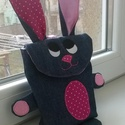 Tojásgyűjtő táska - nyuszi (Rozika), Táska, Kosár, Varrás, Húsvéti csoki tojás gyűjtő Nyuszi táska.  Ő egy farmerkék nyuszika pink pettyes és rózsaszín fülekk..., Meska