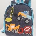 Munkagépes hátizsák kék, Munkagépek - mintás hátizsák  Farmer hátizsá...