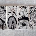 Napleányok - Kerámia grafika, Dekoráció, Magyar motívumokkal, Otthon, lakberendezés, Kép, A lányokat nyers agyaglapra fekete mázzal, írókával rajzoltam, majd kétszer égettem őket. 6x..., Meska
