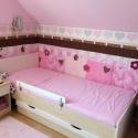 Rózsaszín-barna patchwork falvédő