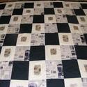 Fekete-drapp újságmintás patchwork takaró, Otthon, lakberendezés, Lakástextil, Falvédő, Takaró, ágytakaró, Varrás, Patchwork, foltvarrás, méret: 220x220  Az anyagot varrás előtt kimostam, tehát nem fog összemenni( be van avatva) A bélés ..., Meska