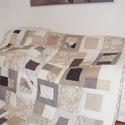 Crazy Patchwork takaró, pasztell színekből, Otthon, lakberendezés, Lakástextil, Takaró, ágytakaró, Varrás, Patchwork, foltvarrás, A takaró 29x29cm-es kockákból készült, ezen belül, szabálytalan darabok vannak összevarrva,csipke, ..., Meska