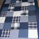 Kék patchwork takaró apró kockákból fiúknak, Otthon, lakberendezés, Lakástextil, Takaró, ágytakaró, Varrás, Patchwork, foltvarrás, Egyedi készítésű takaró fiúknak, kicsiknek, nagyoknak méret:190x125cm Ez a takaró alkalmas ágy leta..., Meska