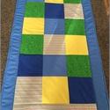 patchwork falvédő kockákból zöld, kék, sárga, Otthon, lakberendezés, Lakástextil, Takaró, ágytakaró, Varrás, Patchwork, foltvarrás, Egyedi készítésű takaró fiúknak méretí:180x100cm Ez a takaró alkalmas ágy letakarására és takarózás..., Meska