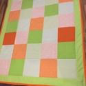 patchwork takaró, falvédő kockákból, sárga, narancs, Otthon, lakberendezés, Lakástextil, Takaró, ágytakaró, Egyedi készítésű takaró méret:200x120cm Ez a takaró alkalmas ágy letakarására és takaróz..., Meska