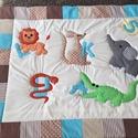 patchwork takaró, elefánt, oroszlán, krokodil, kenguru