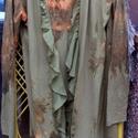 Erdőjáró, Ruha, divat, cipő, Női ruha, Festett tárgyak, Foltberakás, Loncsos-bohém,vékony anyagú kardigán,szélein fodros rátétekkel. A ruha folt technikával  készült,íg..., Meska