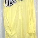 Citromos , Ruha, divat, cipő, Női ruha, Festett tárgyak, Foltberakás, Vékony,citrom színű két zsebes ingecske. Nyakban egy fekete-fehér anyagból sál,vékony neon sárga cs..., Meska