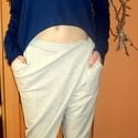 Áthajtós nadrág, Ruha, divat, cipő, Női ruha, Nadrág, Foltberakás, Varrás, Pamut és rugalmas pamut anyagból varrt kényelmes nadrág,elején áthajtós, átlapolt  megoldással.Gumi..., Meska