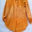 """Harmatmézes, Ruha, divat, cipő, Női ruha, Blúz, Festett tárgyak, Varrás, """"Mézharmatból"""" készült női ing: mézes színű,vékony vászonból,foltos-színátmenetes batikolással,mell..., Meska"""