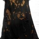 Folt Design, Ruha, divat, cipő, Női ruha, Ruha, Festett tárgyak, Foltberakás, Fekete ,barna foltmintás tunika,vékony pamutból. Folt technikával  készült és textilfestéssel. Elől..., Meska