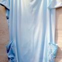 Kavicsok a zsebben, Ruha, divat, cipő, Női ruha, Ruha, Festett tárgyak, Foltberakás, Víz-kék színnel festett,könny nyári tunika,oldalán, zsebek,ami elölről hátulra is átnyúlik. Nyári v..., Meska