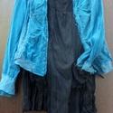 Kék rozsda , Ruha, divat, cipő, Női ruha, Blúz, Különleges kék blúz,csíptetett -húzott megoldásokkal az anyagon. Kétféle anyagból készült,vékony átt..., Meska