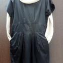 Bézs-fekete, Fekete szatén ruha,széles derékrésszel, alatta...