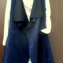 Bohó öltözet, Ruha, divat, cipő, Női ruha, Blúz, Textil velúr anyagból varrt ,mély kék ,zsebes mellény. Hosszú,átlapolós darab,minden évszakban  jól ..., Meska