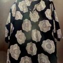 Csipke Mandalák, Ruha, divat, cipő, Női ruha, Ruha, Foltberakás, Varrás, Fekete vászon anyag,csipke mintával,lilás-bézs színnel. Az anyagból tunika készült,nyaknál gombos r..., Meska