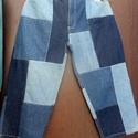 Tornacipővel, Ruha, divat, cipő, Női ruha, Nadrág, Farmer foltokból összevarrt nadrág. Egyenes szárú,hagyományos cipzáros, gombos megoldással. Tornacip..., Meska