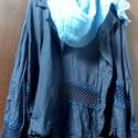 Ruhád színe:kék, Ruha, divat, cipő, Női ruha, Blúz, Sötétkékkel festett,csipke betétes,vászon kabát,elől ,derékrészen pertlivel összeköthető. Világosabb..., Meska