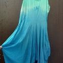 A tenger nyugalma, Ruha, divat, cipő, Női ruha, Ruha, A Tengerzöld,türkiz és kék nyugalma. Kreppvászon ruha,tenger színeivel batikolva. Alja több részből ..., Meska
