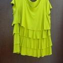 Élénkítő zöld, Ruha, divat, cipő, Női ruha, Ruha, Élénk banán-zöld,több réteges,fodros tunika,kánikula ruha. Mérete:L-XL Mellbőség:105-110cm Hossza:75..., Meska