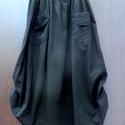Fekete tulipán, Ruha, divat, cipő, Női ruha, Szoknya, Fekete vászonból készült , hosszú , bő szoknya,oldalt felcsíptetve.  Passzés, rugalmas gumis derékré..., Meska