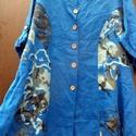 Ha a kék mesélni tudna, Ruha, divat, cipő, Női ruha, Ruha, Kékre festett vászon ruha,mintás vászon anyag betoldással. Elől végig fagombokkal ,ujja visszagombol..., Meska