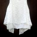 Csipke tunika, Ruha, divat, cipő, Női ruha, Blúz, Rombusz alakú tunika,hófehér ingvászonból, felül csipke anyag rátéttel. Réteges varrással,..., Meska